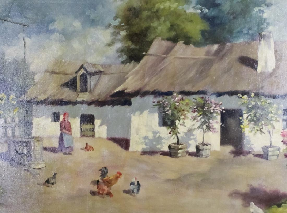 Artist Signed Oil On Canvas Farmhouse Painting - 2