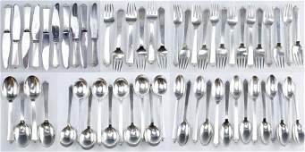 Georg Jensen Silver Pyramid Flatware Cutlery LOT