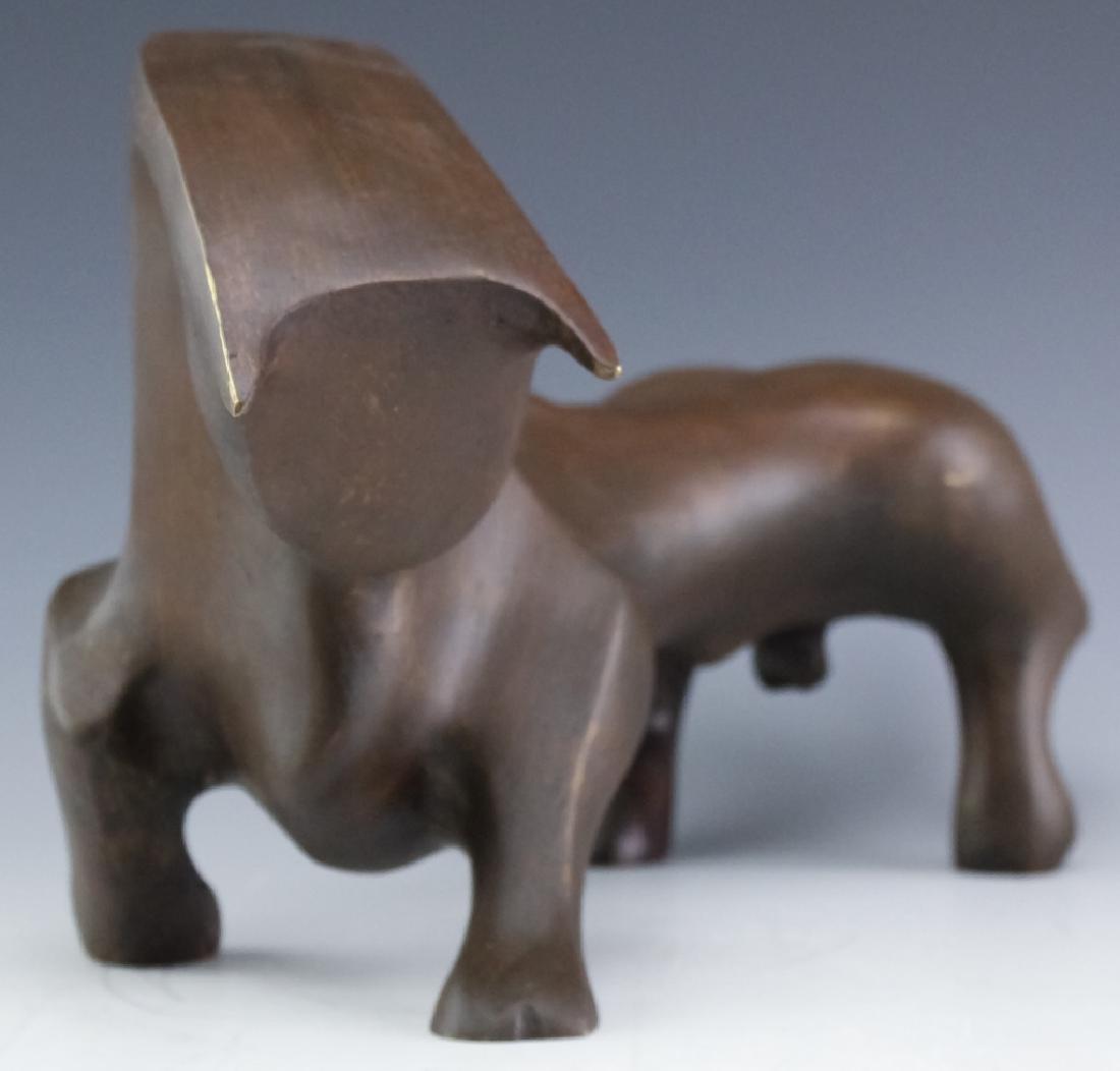 Serrano Modernist Abstract Bull Bronze Sculpture