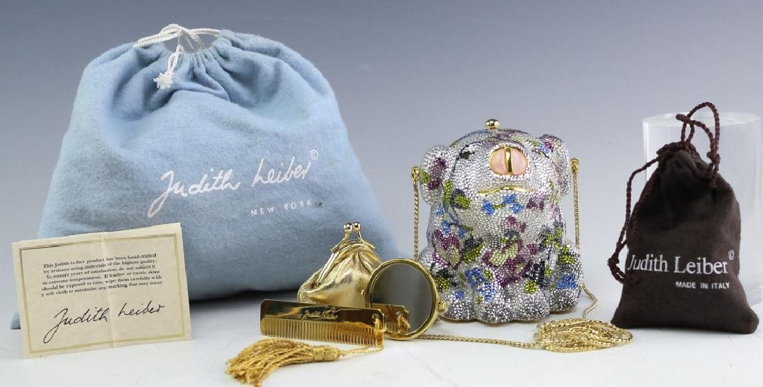 Judith Leiber Crystal Minaudiere Pig Clutch Purse