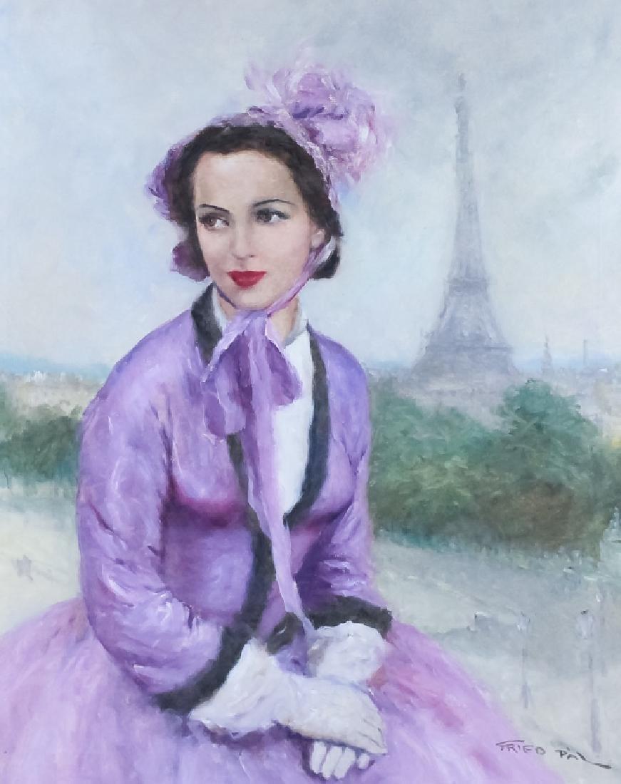 Pal Fried 1893-1976 Parisian Portrait Oil Painting - 2