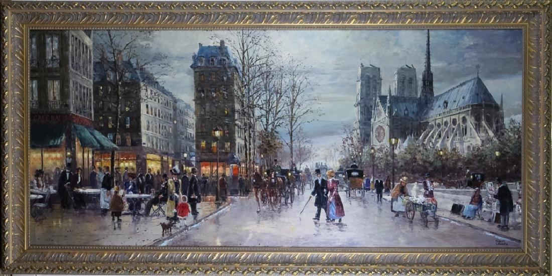 "Robert Lebron French Parisian Oil Painting 33""x75"""