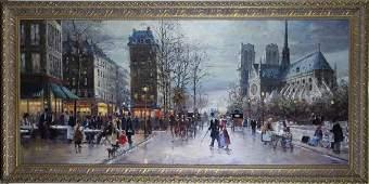 Robert Lebron French Parisian Oil Painting 33x75