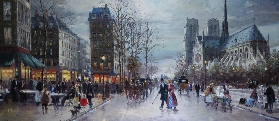 "Robert Lebron French Parisian Oil Painting 33""x75"" - 2"