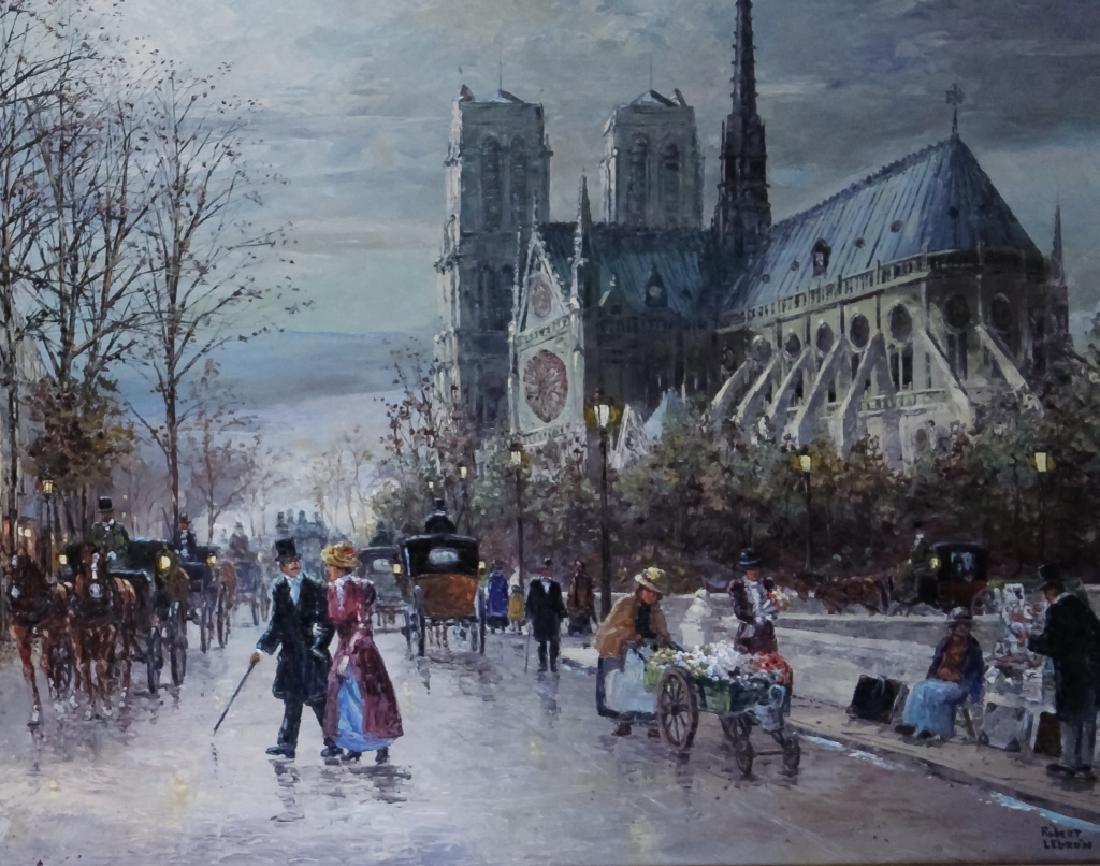 "Robert Lebron French Parisian Oil Painting 33""x75"" - 3"