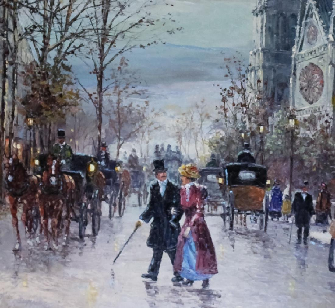 "Robert Lebron French Parisian Oil Painting 33""x75"" - 5"