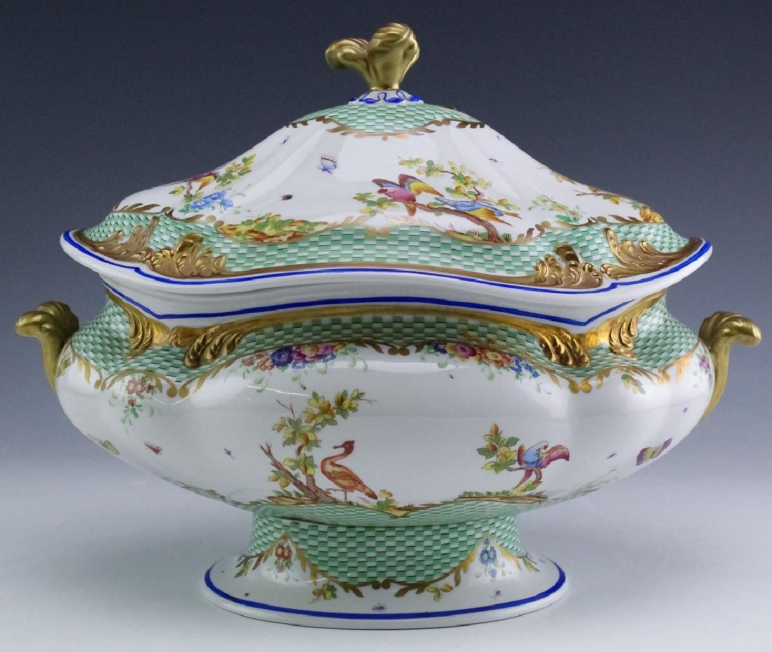 Sevres Type Porcelain Oval Covered Soup Tureen