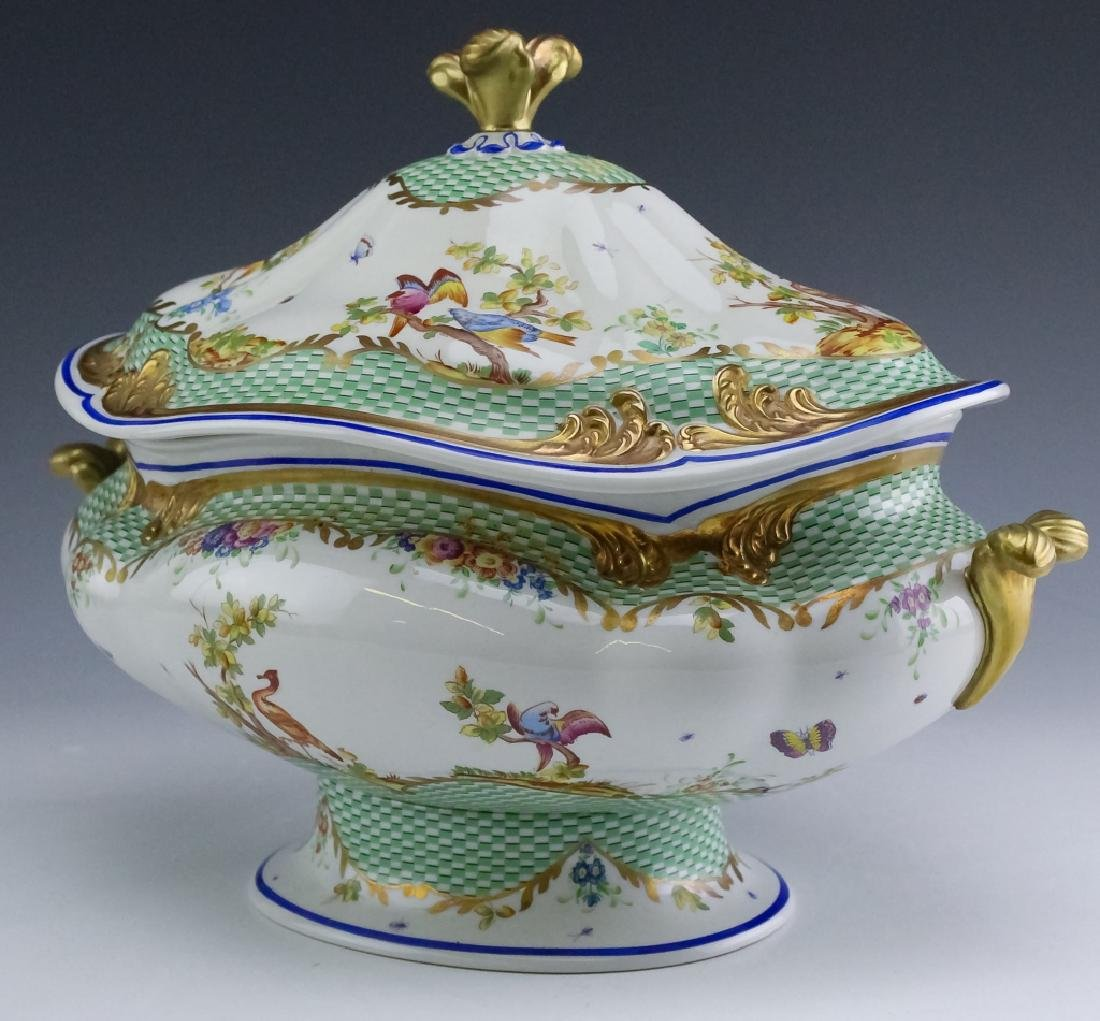 Sevres Type Porcelain Oval Covered Soup Tureen - 2