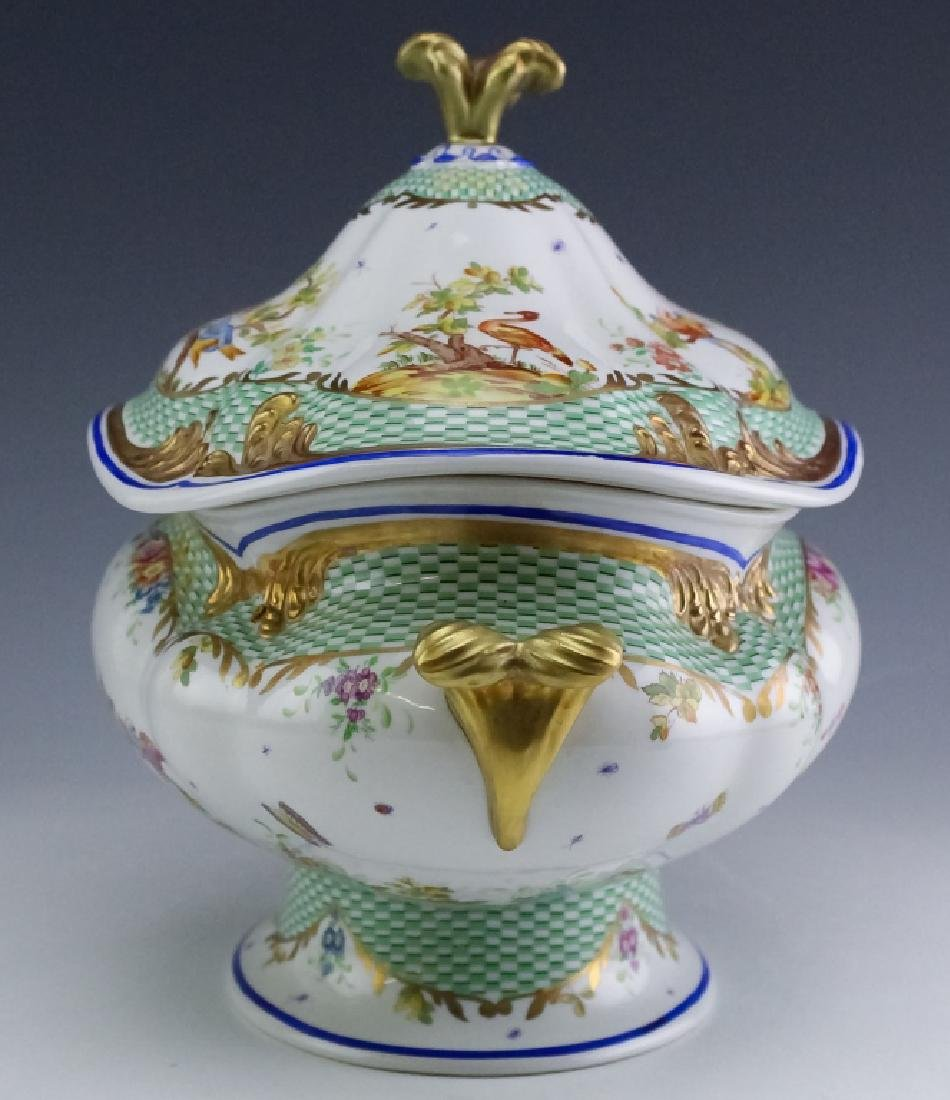 Sevres Type Porcelain Oval Covered Soup Tureen - 3