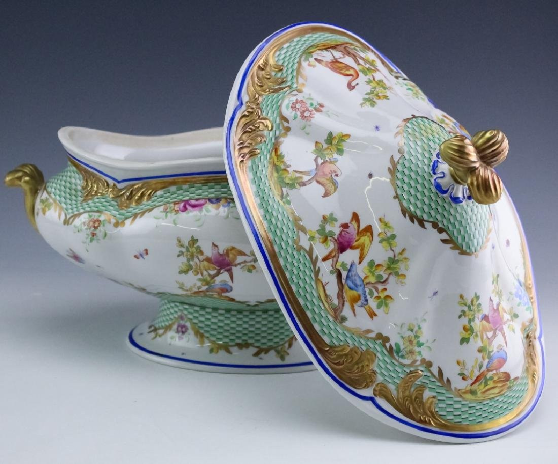 Sevres Type Porcelain Oval Covered Soup Tureen - 4