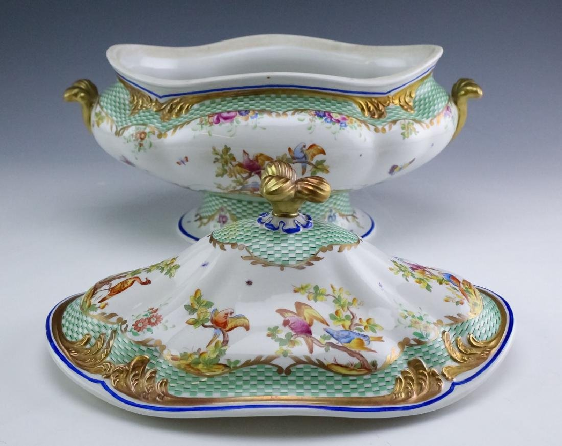 Sevres Type Porcelain Oval Covered Soup Tureen - 5