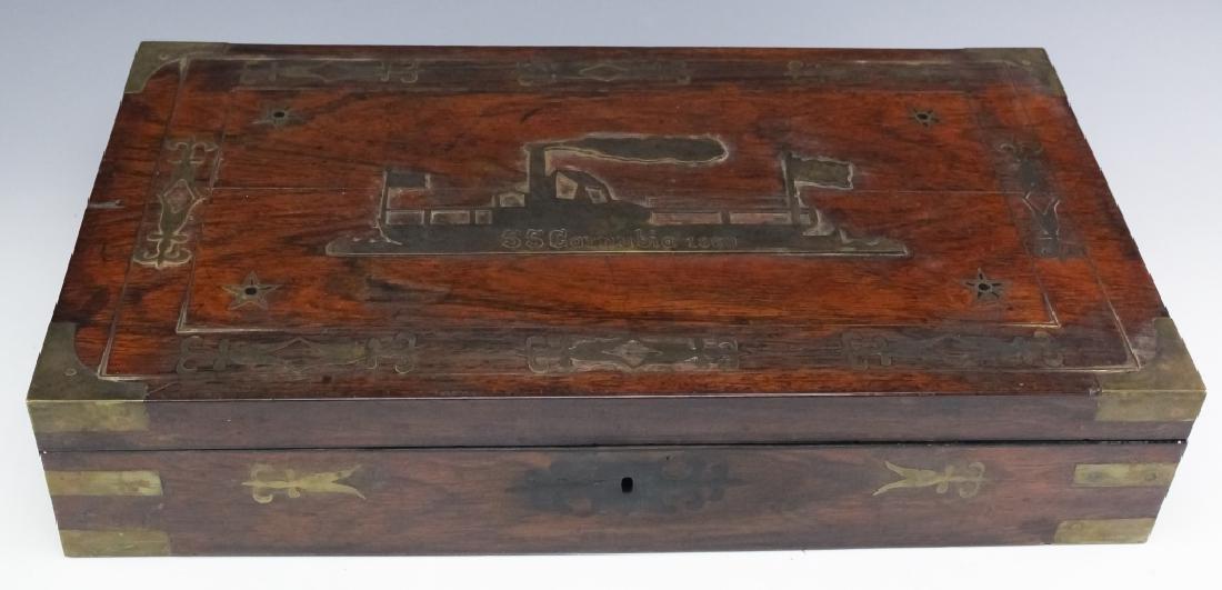 1860 SS Cornubia Copper & Mahogany Wood Pistol Box