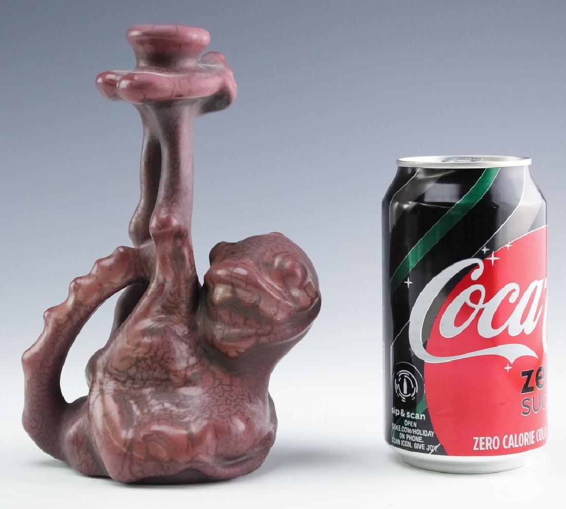 Weller Pottery Sea Monster Fru Russet Candlestick - 7