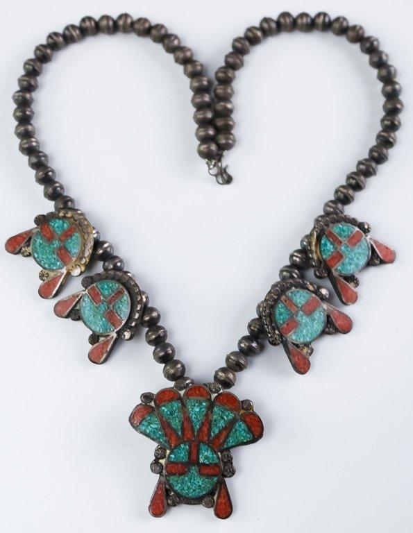 Native American Zuni Silver Sun Face Necklace