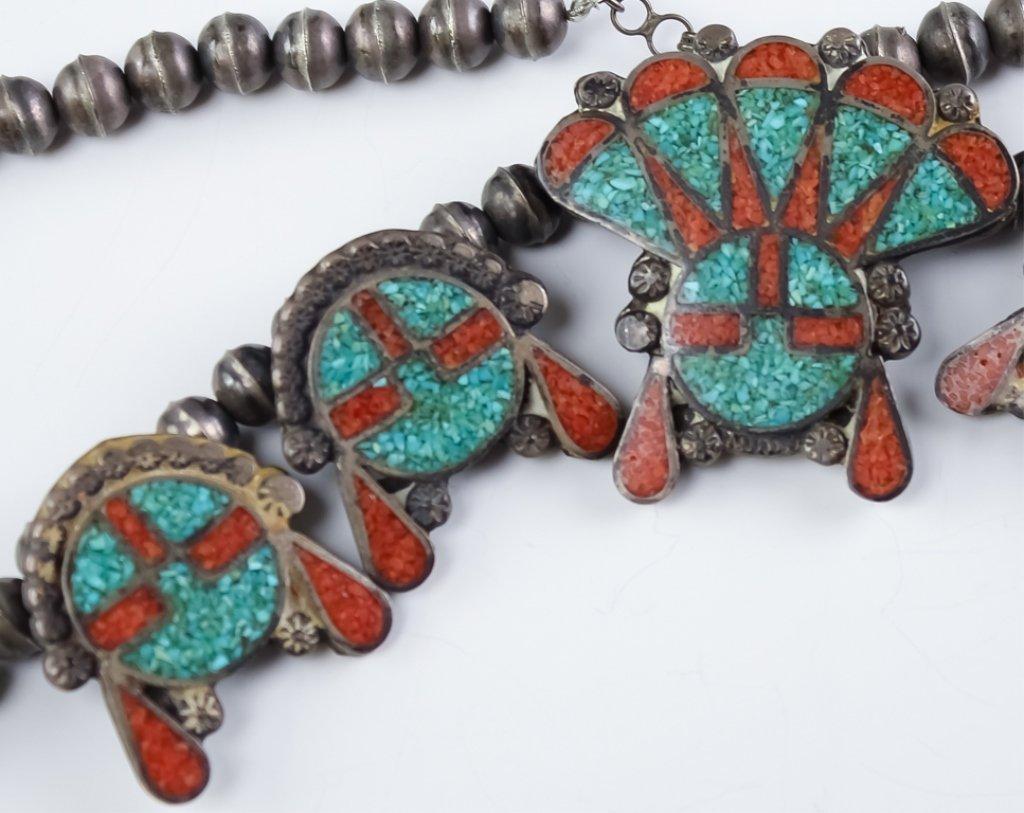 Native American Zuni Silver Sun Face Necklace - 2