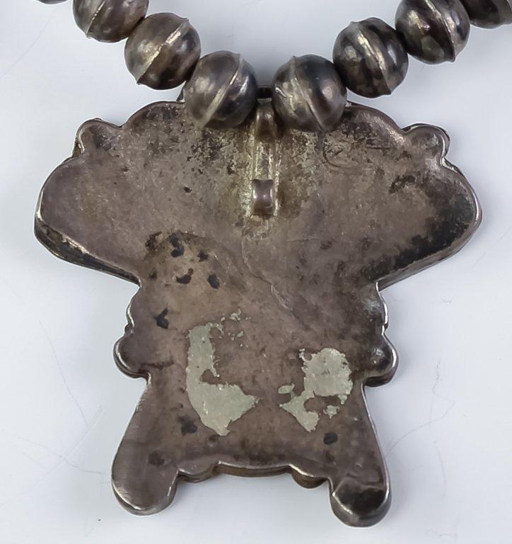 Native American Zuni Silver Sun Face Necklace - 6