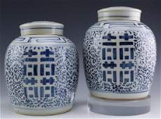 Pair Chinese Export Blue White Lidded Ginger Jars