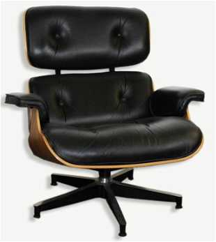 Charles Ray Eames Black Leather Lounge Chair 670