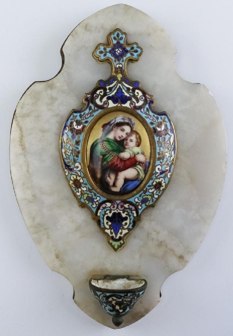 French Bronze Champleve Enamel Holy Water Font