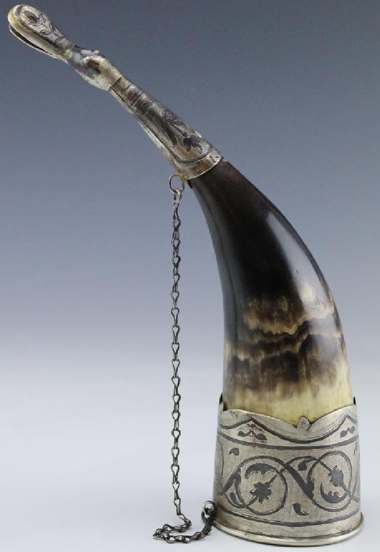 Old Russian Silver Niello Toasting Drinking Horn
