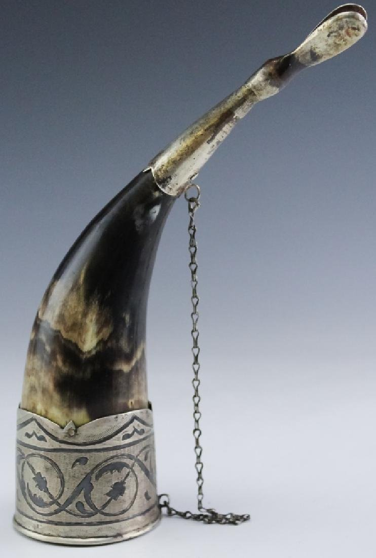 Old Russian Silver Niello Toasting Drinking Horn - 3