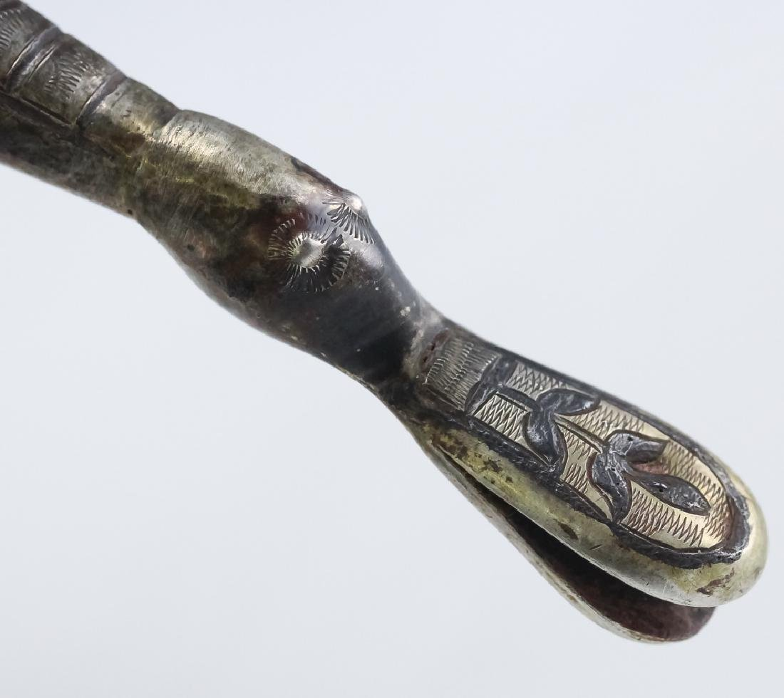 Old Russian Silver Niello Toasting Drinking Horn - 7