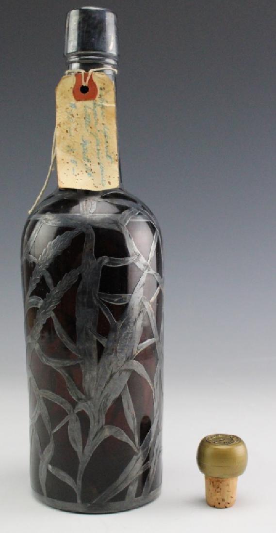 Art Nouveau Sterling Silver Overlay Wine Bottle - 4