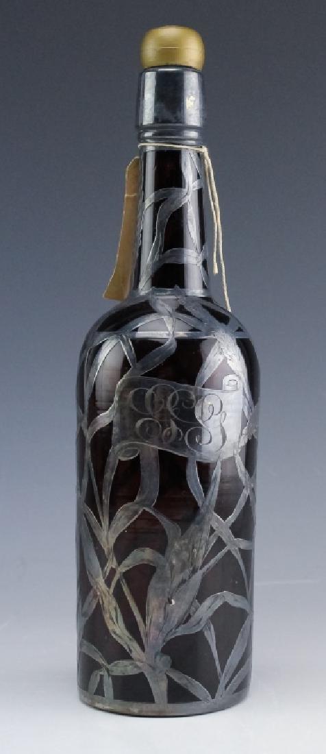 Art Nouveau Sterling Silver Overlay Wine Bottle - 5