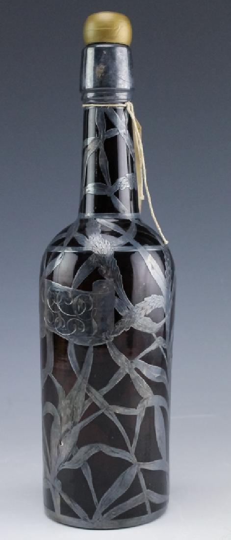 Art Nouveau Sterling Silver Overlay Wine Bottle - 6