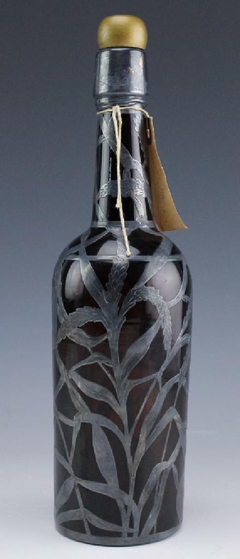 Art Nouveau Sterling Silver Overlay Wine Bottle - 7