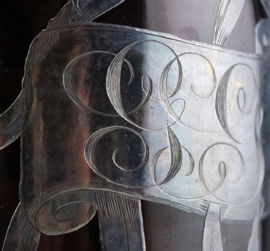 Art Nouveau Sterling Silver Overlay Wine Bottle - 9