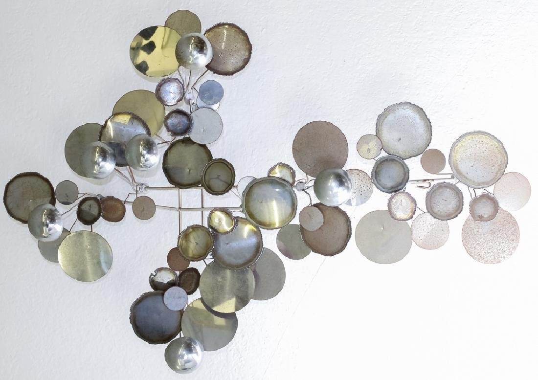 Curtis Jere Raindrops Chrome Steel Wall Sculpture