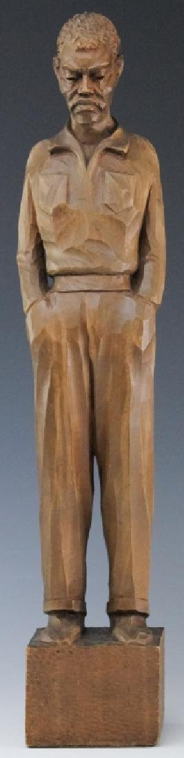 Folk Art Carved Wood Figural Man Sculpture SIGNED