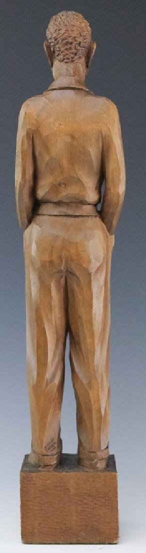 Folk Art Carved Wood Figural Man Sculpture SIGNED - 4