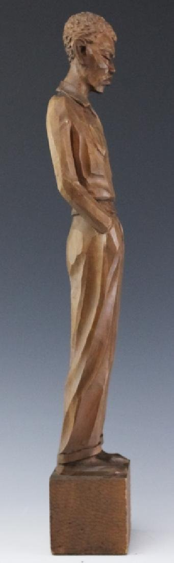 Folk Art Carved Wood Figural Man Sculpture SIGNED - 6