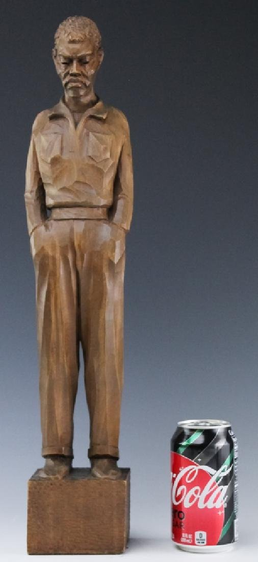 Folk Art Carved Wood Figural Man Sculpture SIGNED - 7
