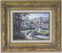 Robert Lebron 1928-2013 Village Landscape Painting