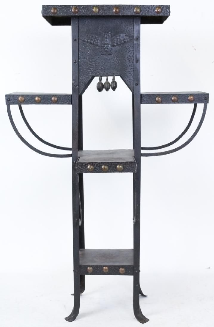 Arts & Crafts Metal Multilevel Shelf Stand w/ Owl