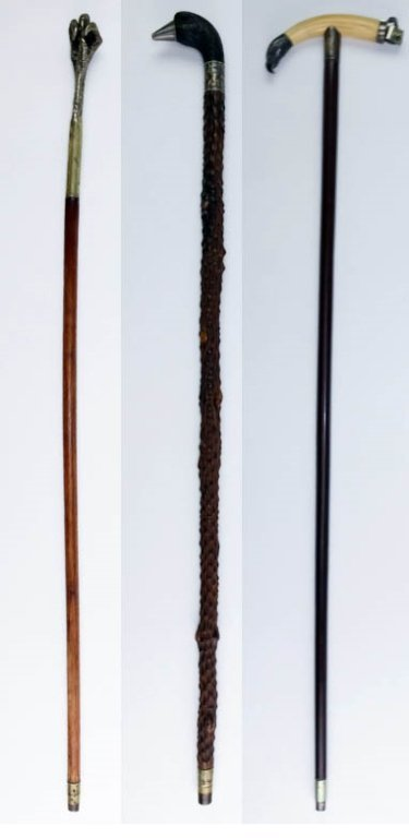 Lot 3 Antique Eagle, Bird Claw Walking Stick Canes
