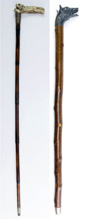 Pair of Animal Walking Stick Canes Dog and Fox