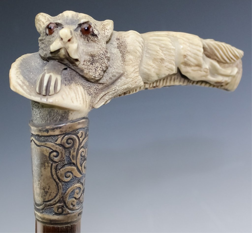 Pair of Animal Walking Stick Canes Dog and Fox - 5