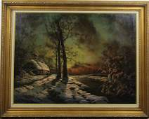 American Mountain Winter Landscape Painting SIGNED