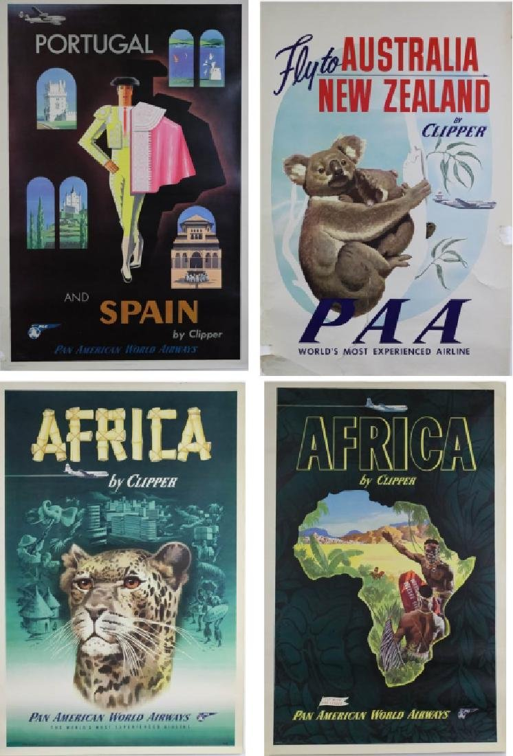 4 1950's Pan Am Travel Posters New Zealand, Europe