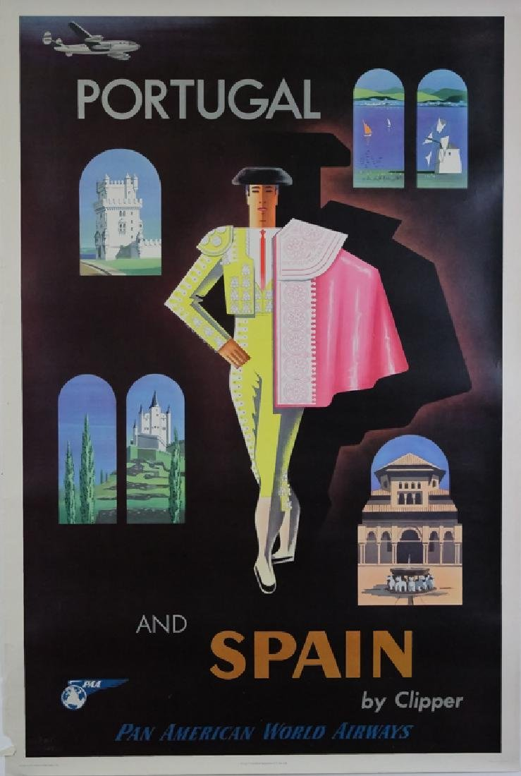 4 1950's Pan Am Travel Posters New Zealand, Europe - 2