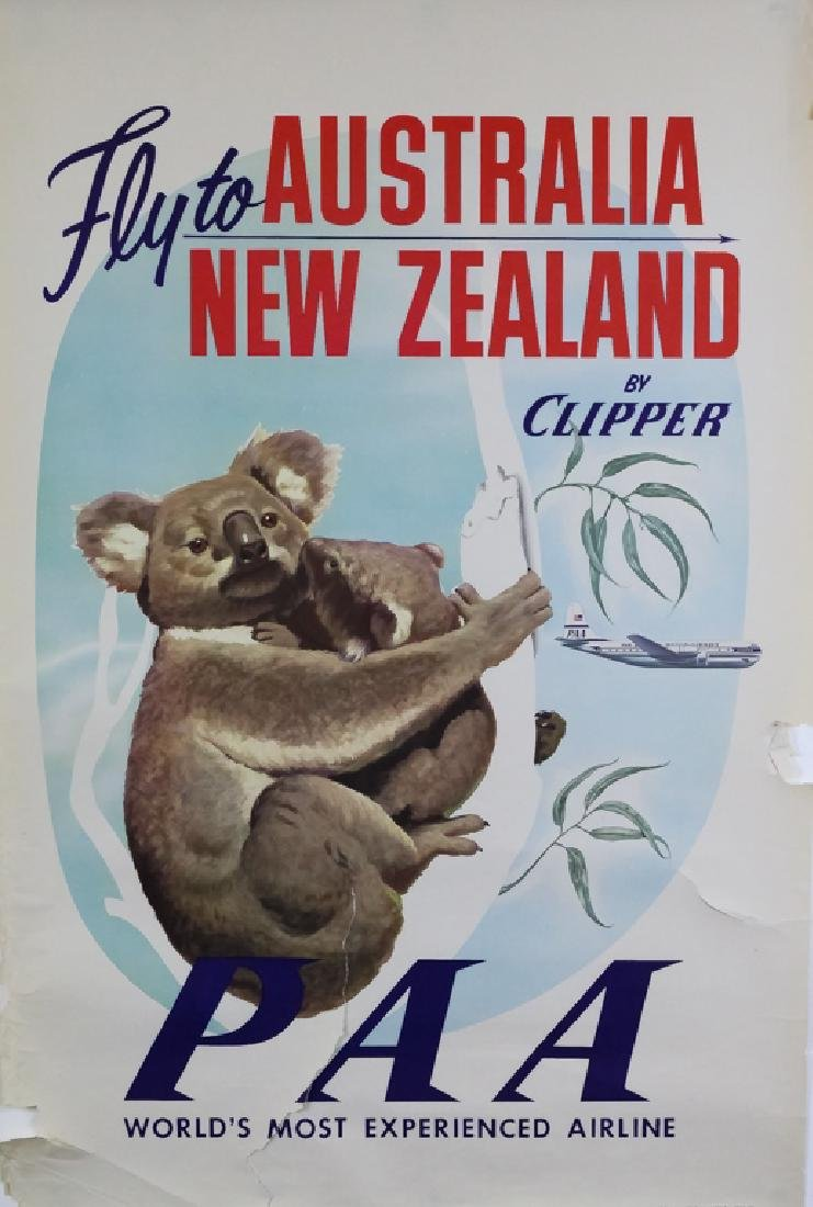 4 1950's Pan Am Travel Posters New Zealand, Europe - 3