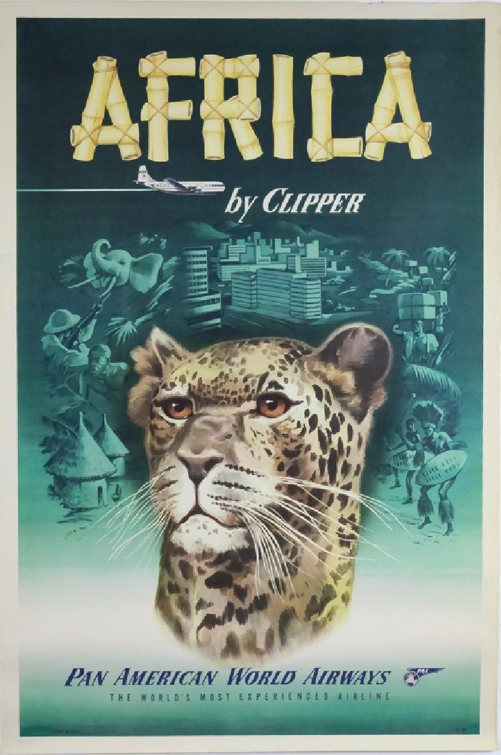 4 1950's Pan Am Travel Posters New Zealand, Europe - 4