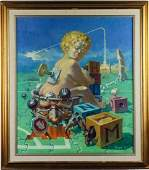Port American Surrealist Political Oil Painting