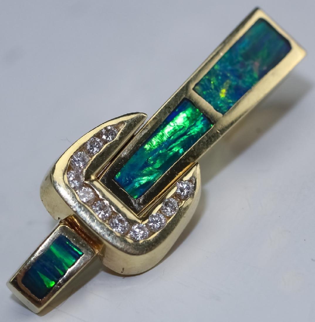 Modernist 14k Gold Opal & Diamond Slide Pendant