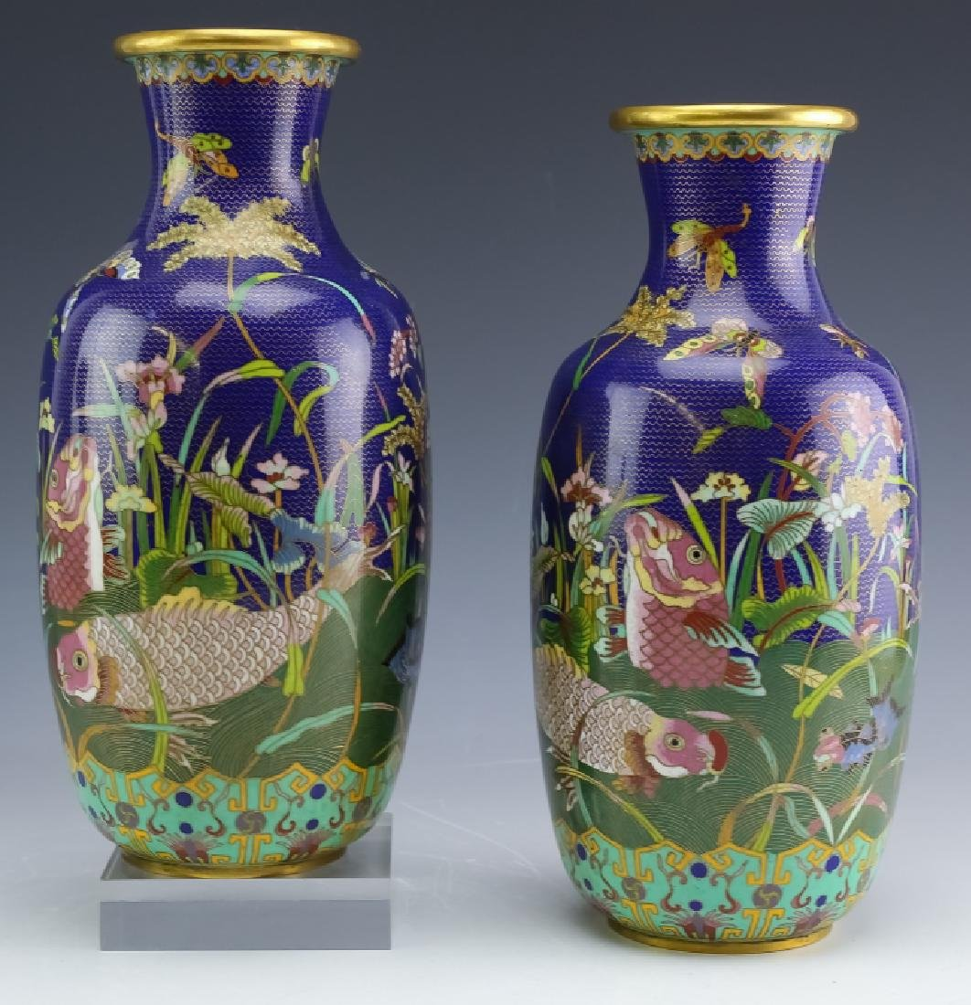PAIR Chinese Export Fine Wire Cloisonne Koi Vases