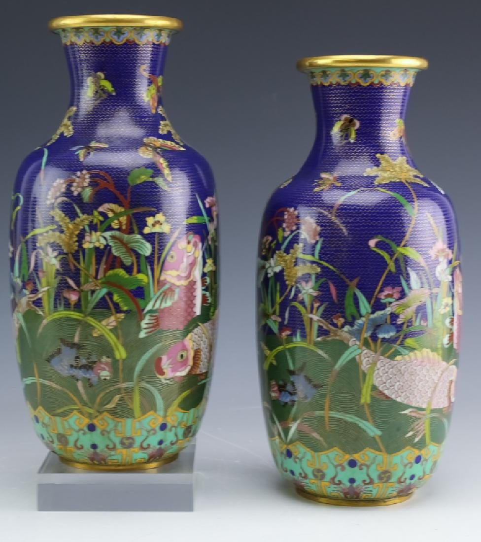PAIR Chinese Export Fine Wire Cloisonne Koi Vases - 2